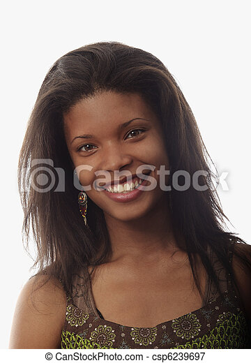 portrait of a beautiful young black woman - csp6239697