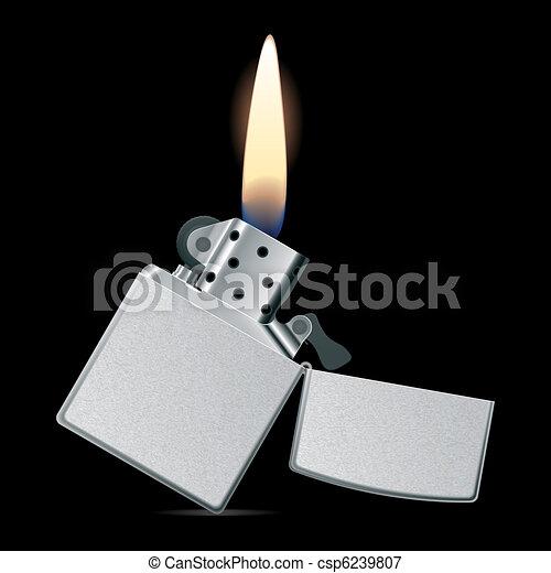 vektoren illustration von feuerzeug mit flamme vektor photorealistic abbildung. Black Bedroom Furniture Sets. Home Design Ideas