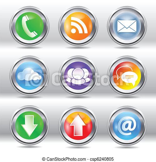 Metallic modern communication icons - csp6240805