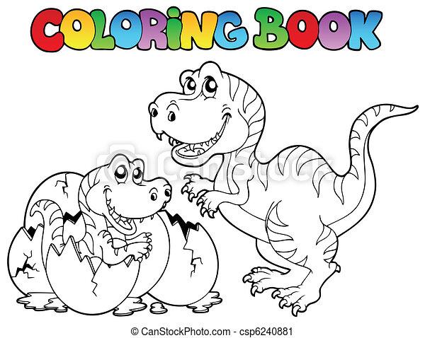 Coloring book with tyrannosaurus - csp6240881