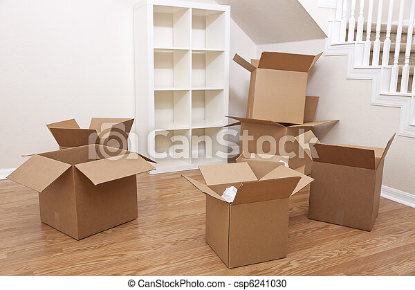 Room Of Cardboard Boxes for Moving House - csp6241030