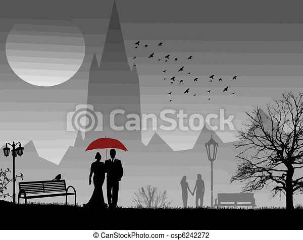 Lovers in a park - csp6242272