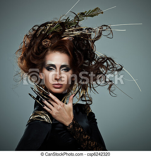 High Fashion on High Fashion Model In Black Dress  With Long Nails And Creative