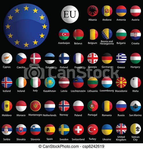 europe glossy icons collection against black - csp6242619
