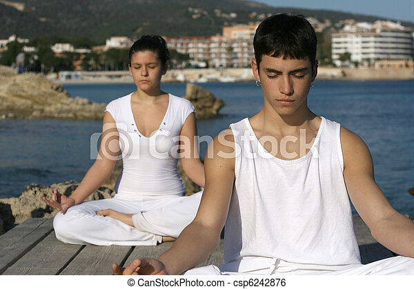 yoga or meditation class outdoors - csp6242876