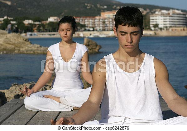 yoga or meditation class outdoors - csp6242876