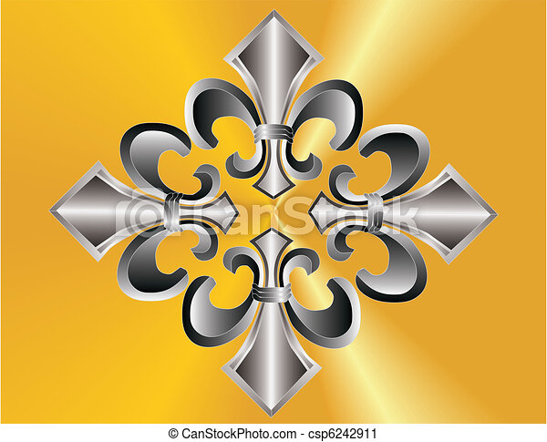 Fleur de lis grouped over golden ba - csp6242911