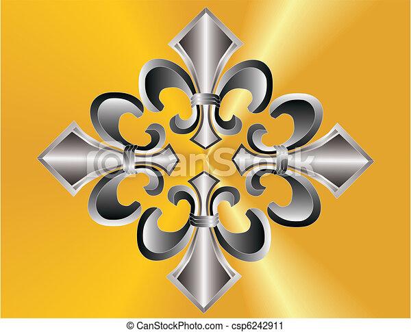 Fleur de lis grouped over golden ba - csp6242911