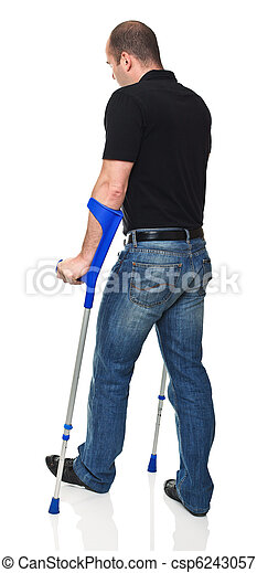 man with crutch - csp6243057