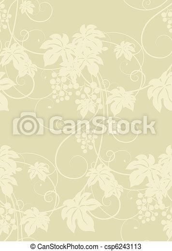 Seamless grape vines background. - csp6243113
