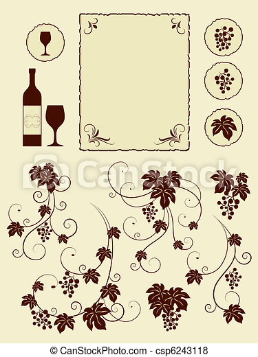 Grape vines and winery objects set. - csp6243118
