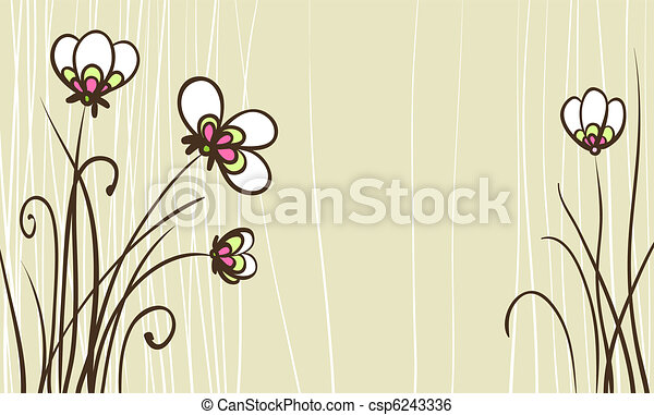 card with stylized flowers for birthday text - csp6243336