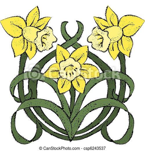 vectors illustration of nouveau daffodils vector art in daffodil clip art black & white daffodil clip art black & white