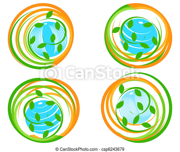vector illustration of a set of a green icons with planet. Can be used as logo. - csp6243679