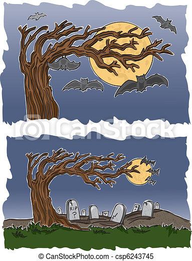 Graveyard and Bats - csp6243745
