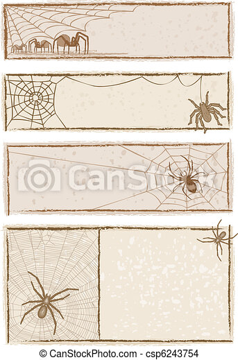 Spider Web Banners - csp6243754