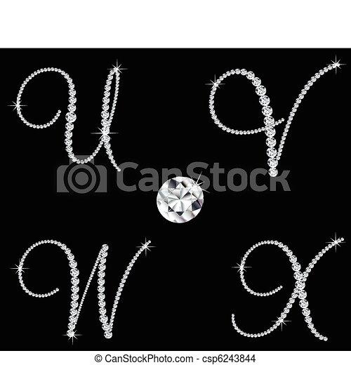 Graceful diamond alphabetic letters. Vector set 6 - csp6243844