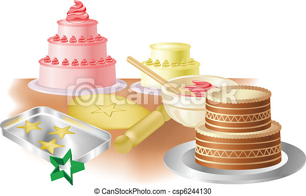 Vector Clipart of Baking cakes and cookies - Cakes, cookies and ...