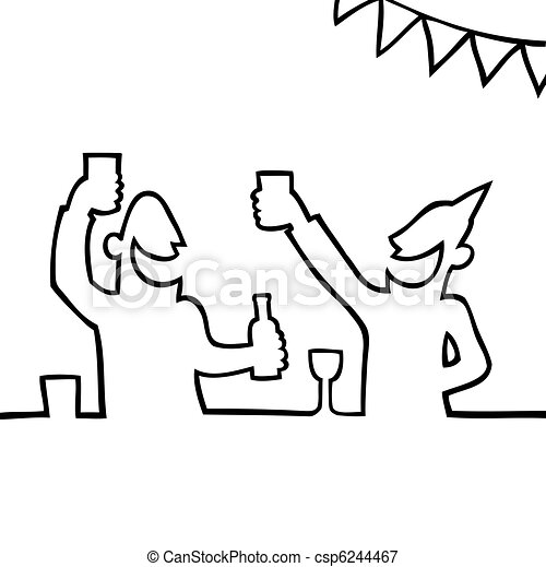 Two people partying with drinks - csp6244467