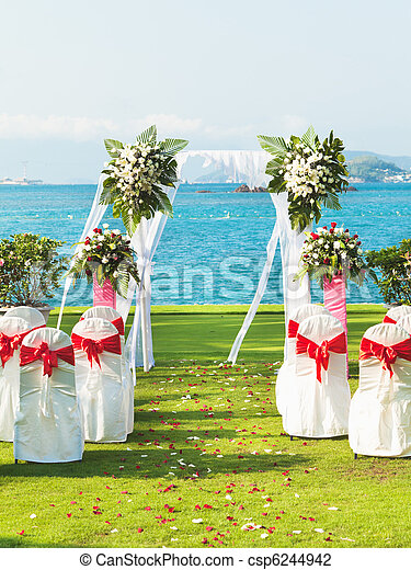 Gate for a wedding on a tropical beach