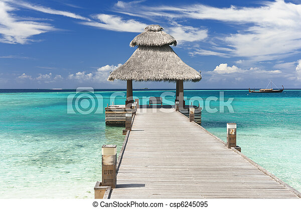 Jetty in the Maldives - csp6245095
