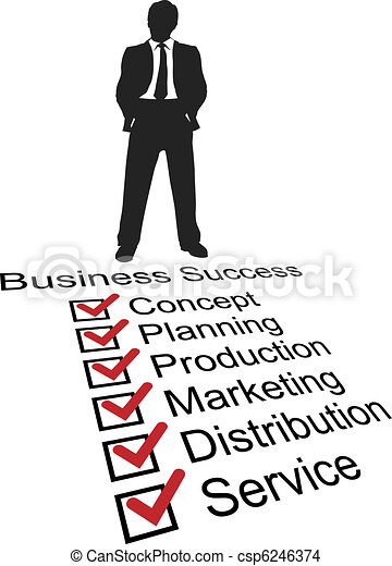 Business startup success product checklist silhouette - csp6246374