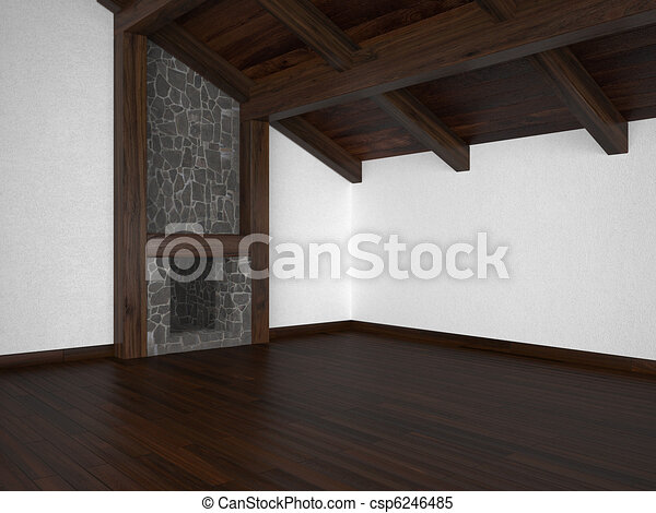 empty living room with fireplace and roof beams - csp6246485