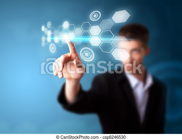 A businessman working on modern technology - csp6246530