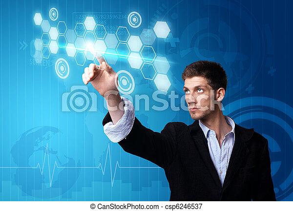businessman working on modern technology - csp6246537