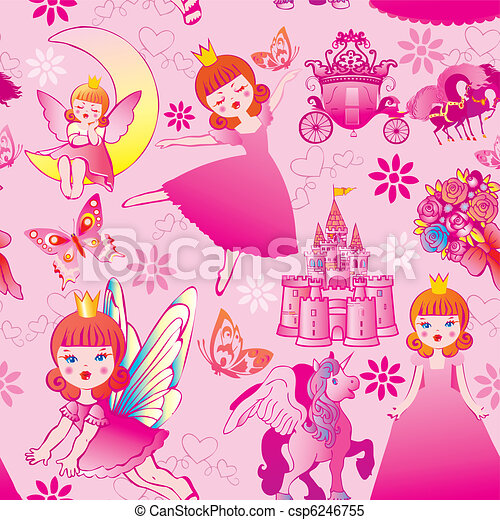 Seamless princess pattern. - csp6246755