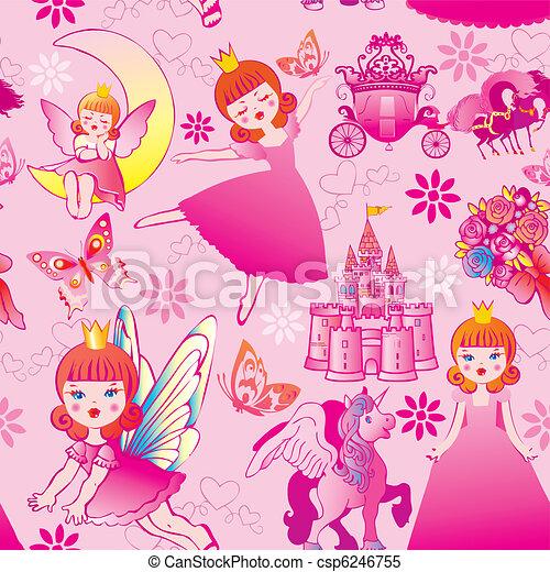 Seamless princess pattern. - csp6246755