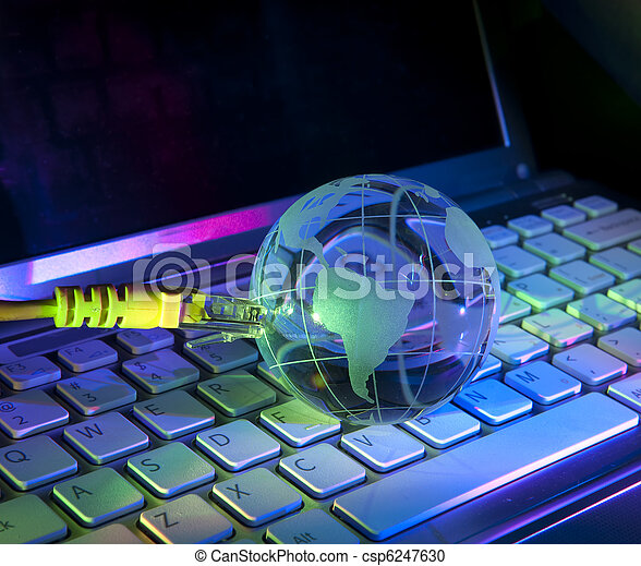technology earth globe against fiber optic background - csp6247630