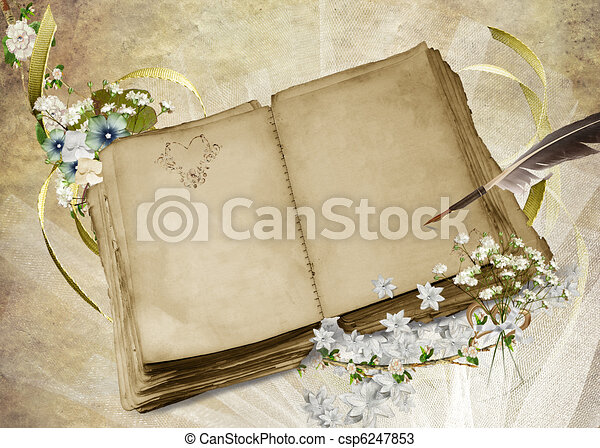 Book And Quill Drawing Vintage Wedding Book