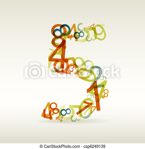 Number five made from colorful numbers - csp6249139