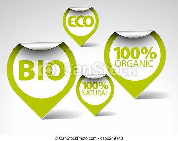 Green tags for organic, natural, eco, bio food - csp6249148