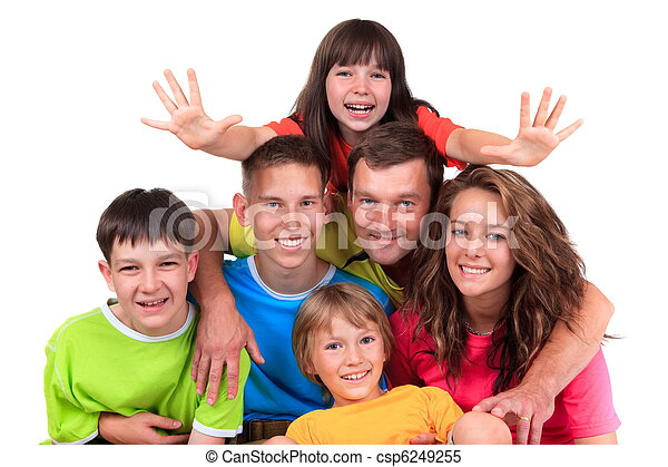 Five children with father - csp6249255
