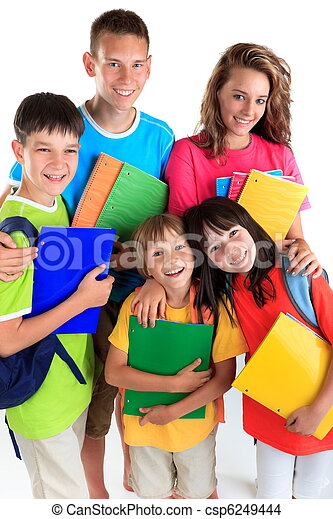 Five happy students - csp6249444