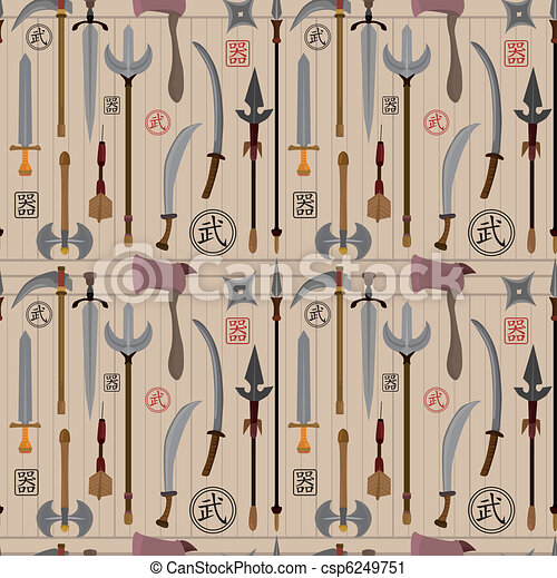 cartoon Chinese weapon seamless pattern - csp6249751