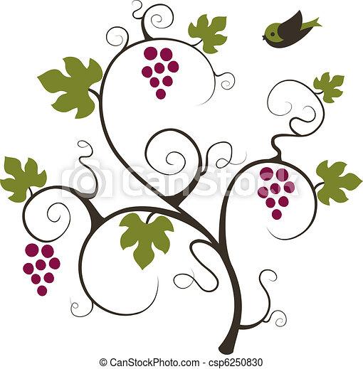 Grape vine and bird. - csp6250830