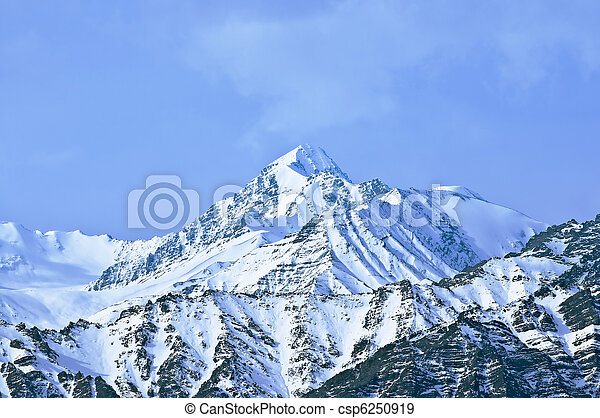 Top of High mountains, covered by snow. India. - csp6250919