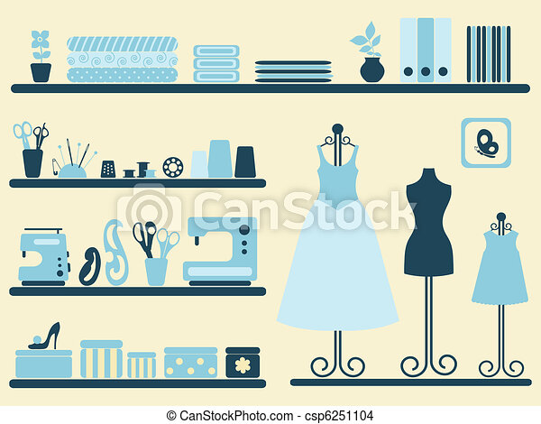 Sewing room and objects set. - csp6251104