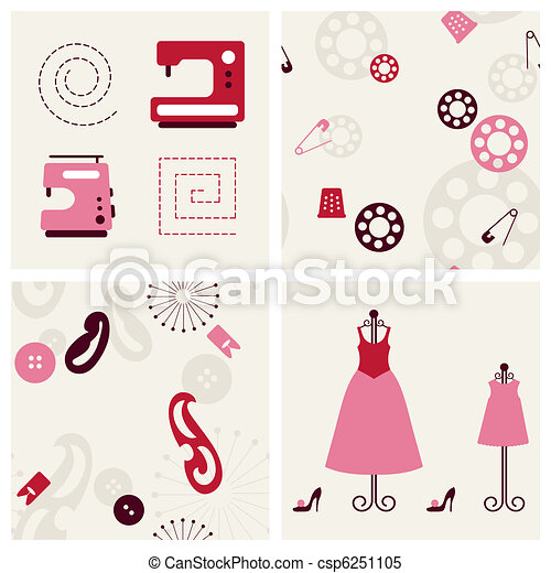 Sewing objects and backgrounds set. - csp6251105