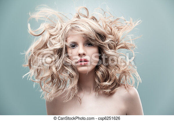 fashion portrait curly blonde - csp6251626