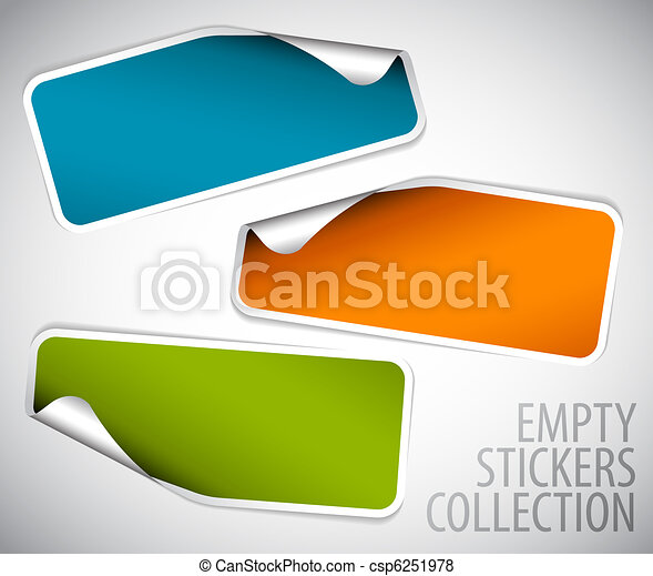 Set of blank rectangle stickers - csp6251978
