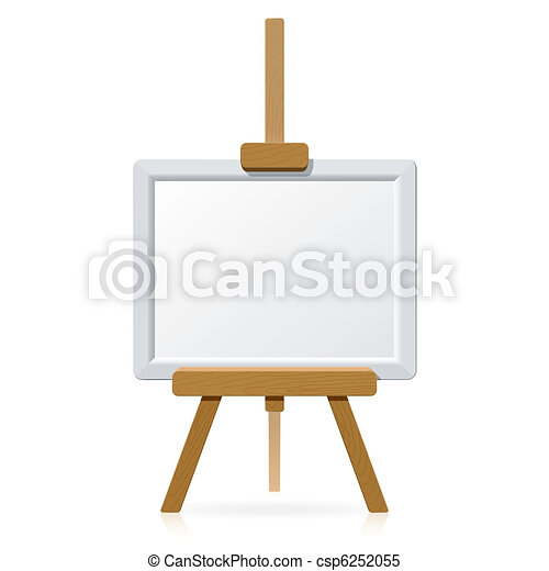 Wooden easel with blank canvas - csp6252055