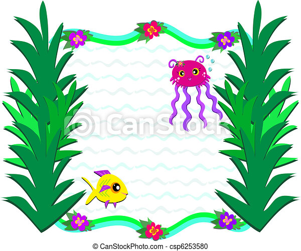 Sea Plants Clipart Frame of marine life and