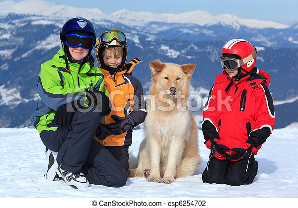Children with dog in Alps - csp6254702