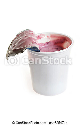 Tasty yoghurt  in plastic glass - csp6254714