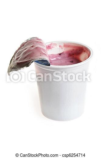 Tasty yoghurt  in plastic glass - csp6254714