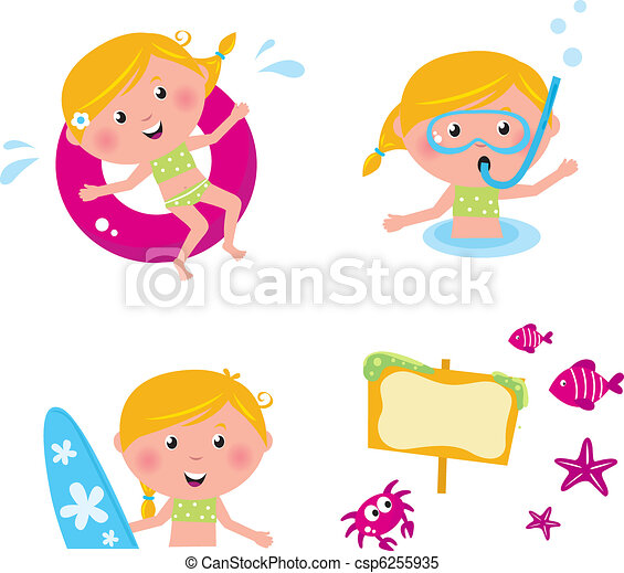Vector collection summer icons, swimming kids isolated on white